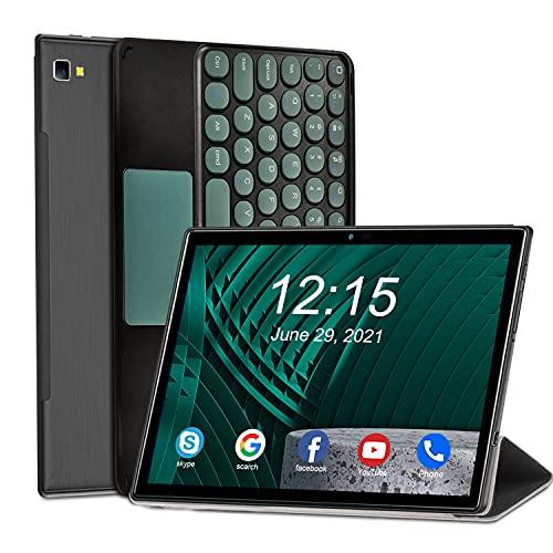Tablet 10 Zoll Android 10, 4G LTE Tablet mit Tastatur, 6 GB RAM + 64 GB ROM, 512 GB Erweiterbar, Octa-Core, 5G WiFi Tablets mit 1920 * 1200 IPS Screen, 6500 mAh, Dual SIM, 8MP + 5MP Dual-Kameras, GPS