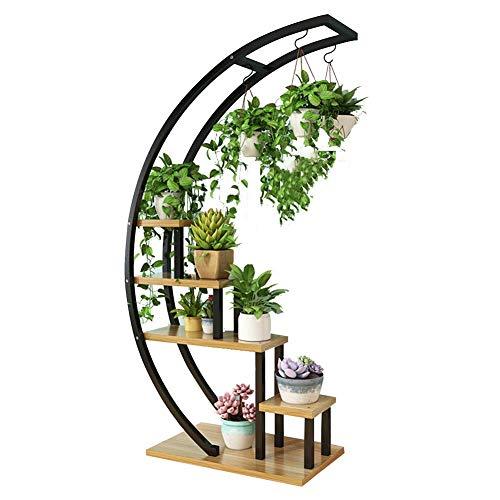 Bloembak, halve cirkelvormig, 5-laags, hoge capaciteit, voor woonkamer, metaal, 12 kleuren (kleur: zwart # D)