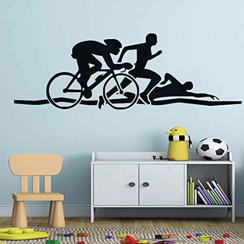 AQjept Triatlón Atleta Pared Pegatina Bicicleta natación Correr Deportes Vinilo Pared calcomanía Salud Fitness Mural131x44cm