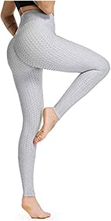 Women's Ruched Yoga Pants High Waisted Honeycomb Workout Stretchy Leggings
