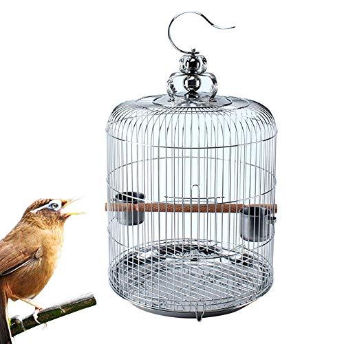 Laqemhu Gabbia da Viaggio per Uccelli, voliera per pappagalli Rotonda in Acciaio Inossidabile da Appendere con Coperchio per Gabbia per Uccelli e Tazza di Alimentazione e mangiatoia per Acqua e palo