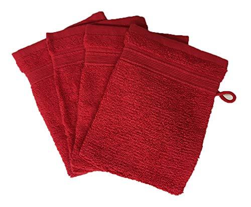Alpes Blanc Lot de 10 Gants de Toilette 600gr/m² 100% Coton/Set de 10 Gants de Toilette Ultra-Confort (Rouge/Red)