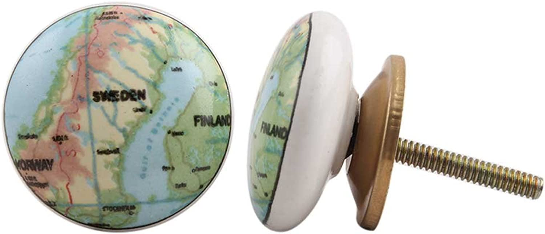 Indianshelf Handmade 10 Piece Rust Free Artistic Flat New Kid Furniture Knobs Multicolor Sweden Map Ceramic Dresser Pulls