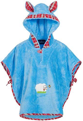 Morgenstern Badeponcho Baby Mikrofaser Blau Poncho mit Kapuze Bestickt mit Schaf