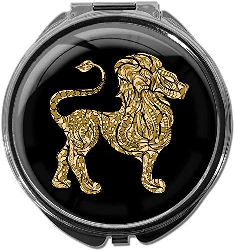Boîte à pilules/Rond/Modèle Leony/Signe astrologique/Lion dans l'or