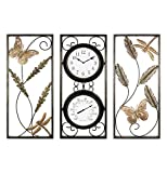 Bestime Metal Wall Decor, Weather Resistant Wall Clock/Thermometer, Metal Leaf Wall Art, Interior and Outdoor Decoration, Wrought Iron Wall Decor, Living Room Home Decoration, 3 Panels Wall Hangings