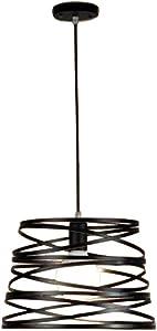 NIUYAO Lámparas de araña Forma Cilíndrico Jaula Metal Iluminación de Techo Ajustable Estilo Loft Industrial Retro 1 Luz-Negro