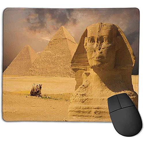 Alfombrilla de ratón Decoración egipcia La Gran Cara de la esfinge con Otras pirámides en Egipto Antiguo Monumento histórico Crema l Office Mouse