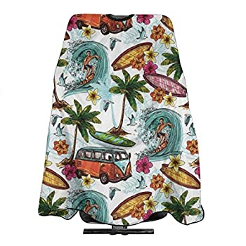 Hawaiian Decor Surfer Haircut Apron Professional Barber Cape Cover For Hairstylists Salon Gown Cape Water Repellent Hairdressing Cape