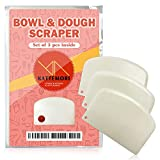 KATTEMORI Dough Scraper - Set of 3 Bowl Scraper Set - Plastic Bench Scraper Ideal for Cream, Cheese, Chocolate, Dough, Fondant - Practical and Ergonomic - Curved Edge