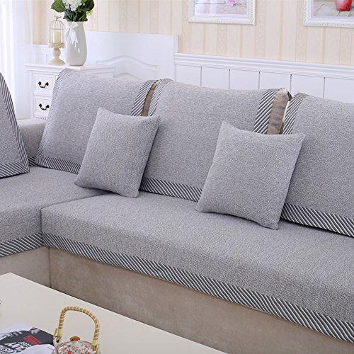 Funda de sofá de algodón,Toalla de lino rayado antideslizante suave sofá multiusos fundas nórdica estilo decorativo protector de los muebles seccionales sofá cubre lanza -gris 70x100cm(28x39inch)