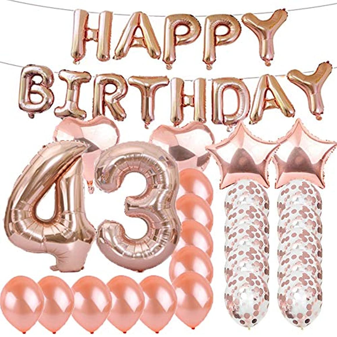 Sweet 43th Birthday Decorations Party Supplies,Rose Gold Number 43 Balloons,43th Foil Mylar Balloons Latex Balloon Decoration,Great 43th Birthday Gifts for Girls,Women,Men,Photo Props