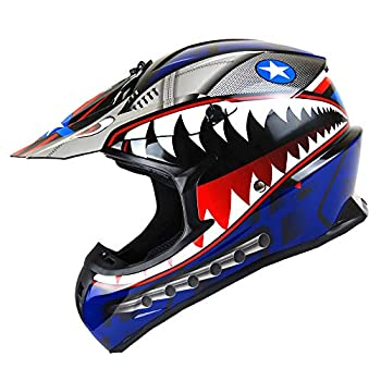 1Storm Adult Motocross Helmet BMX MX ATV Dirt Bike Downhill Mountain Bike Helmet Racing Style HKY_SC09S  Shark Blue