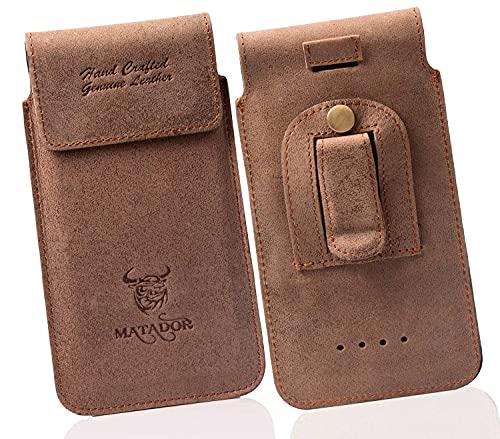 MATADOR Echt Ledertasche Huawei P20 / P20 LITE / P30 / P30 LITE Handytasche Gürteltasche Vertikaltasche Tabacco Braun Magnetverschluss Gürtelclip/Gürtelschalufe