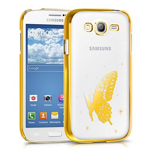 kwmobile Hülle kompatibel mit Samsung Galaxy Grand Neo/Duos - Handyhülle - Handy Hülle Schmetterling Gold Transparent