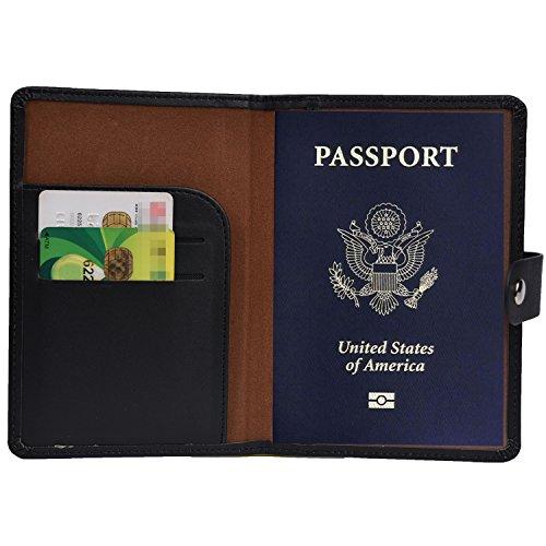 Hopsooken Porta Passaporto Custodia Passaporto da Uomo e Donna ID Documenti Custodia PU Cuoio
