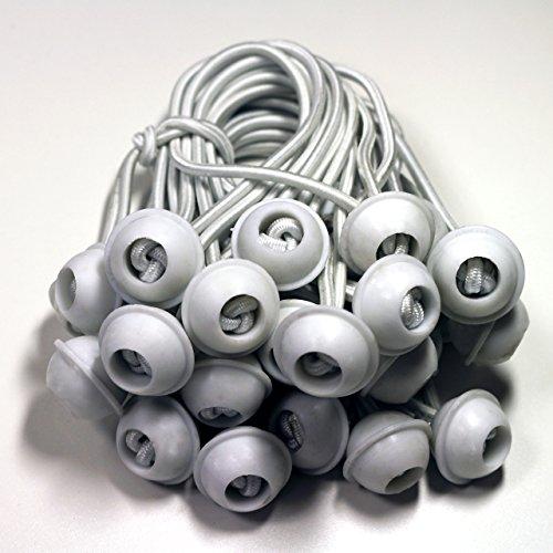 TOOLPORT 50 Stück Set Gummischlaufen Spanngummis zum Befestigen von Planen - Zeltgummis Expanderschlingen Bungees Spanner Planenspanner für Partyzelt Pavillon Zelt - weiß, lang