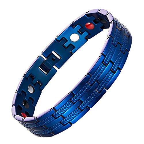 Elegant Men's Magnetic Therapy Bracelet Pain Relief for Arthritis and Carpal Tunnel,8.5 Inches Adjustable (Blue)