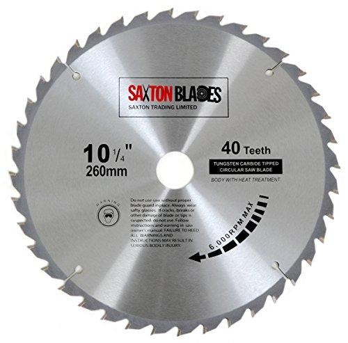 Saxton TCT Kreissägeblatt für Holz, 260 mm x 40 Zähne, kompatibel mit Festool, Bosch, Makita, Dewalt
