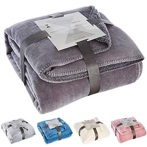 Zeitgeist Decke Tallinn, Tagesdecke grau 150x200 cm, Mikrofaser Kuscheldecke, weiche Decke in vielen verschiedenen Farben erhältlich