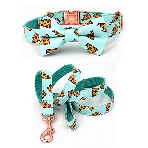 BGTJN Conjunto de collar de perro Patrón popular de pizza collar de perro y una correa con la pajarita for grandes y perros pequeños tela de algodón collar de oro rosa hebilla de metal Correa de perro