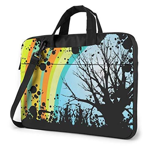 Bolsa para computadora portátil Rainbow and Tree Doodle Bolsa de Mensajero de Hombro para computadora portátil Funda de Transporte para computadora portátil de 13 Pulgadas Maletín