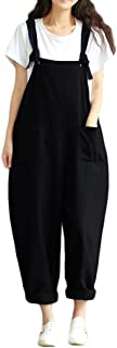 Women's Baggy Overalls Jumpsuits Casual Wide Leg Bib Pants Plus Size Rompers Dungarees