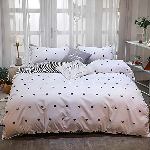 TEALP Double Bedding Duvet Cover Set Black & White Easy Care Reversible Two Sided Duvet Quilt Cover with 2 Matching Pillow Cases(200 * 200, Double)