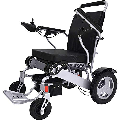 Bangeran 950 Faltbarer Leichter Elektrischer Rollstuhl mit Joystick, nur 25kg mit Batterien, 100 kg Nutzlast, Flugzeug-Aluminiumlegierung-Rahmen Stahl stark, 32cm Gummihinterräder
