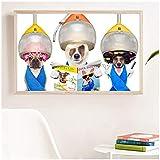 XuFan Cani Groomer Parrucchiere Stampa sotto Cappa di Essiccazione Poster Divertenti Lettura di riviste su Tela Pittura Barbershop Wall Art Decor-16X32 inch No Frame