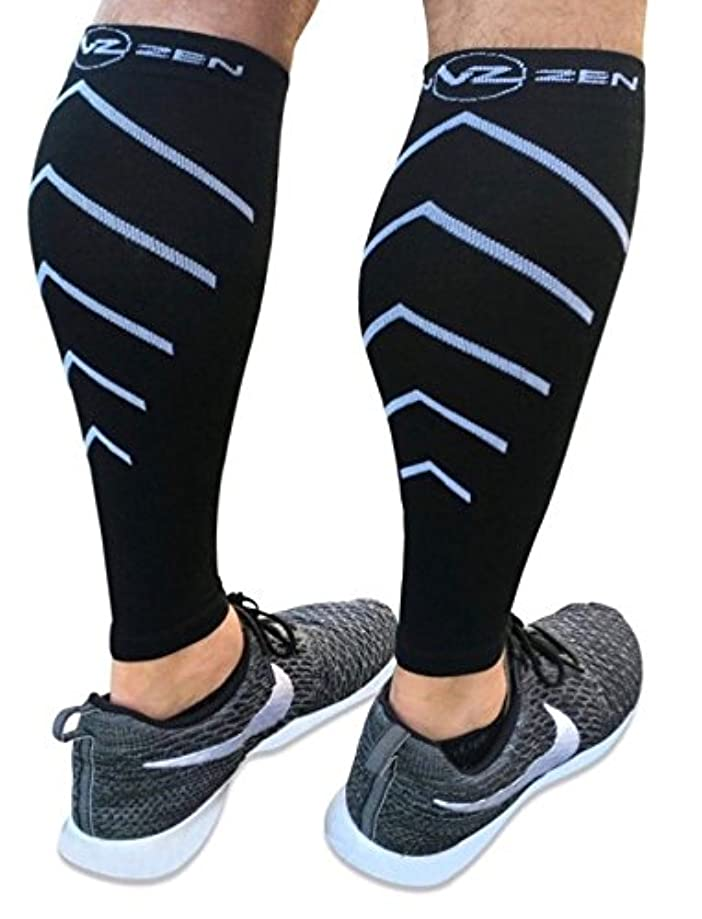Calf Compression Sleeve Toeless Compression Socks Women & Men Best Footless Leg Support Sleeves for Calves - Improve Circulation for Shin Splint, Calf Pain Recovery, Running, Cycling, Travel, 1 Pair