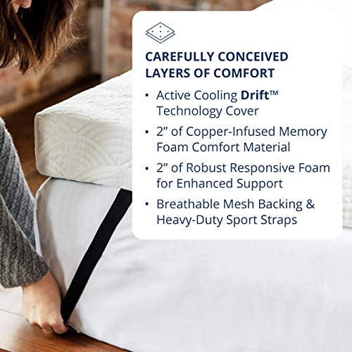 Viscosoft 4-Inch Active Cooling Memory Foam Mattress Topper King - Made in USA Select Copper Pad & Drift Cover