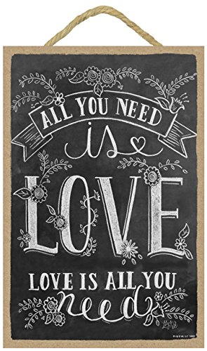 SJT ENTERPRISES, INC. All You Need is Love, Love is All You Need 7' x 10.5' Wood Plaque Sign Featuring The Chalk Artwork of Ampersand (SJT14802)