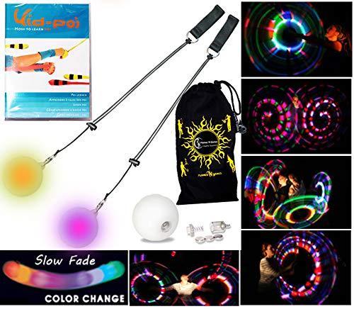 Pro Glow Poi - LED Poi Set + Kid Poi DVD(in Deutsch) Stoff Reisetasche! Nachtleuchtender Poi inkl. Batterien. Langsam Fading multicolour Leuchtpoi Luminous Pois Led.