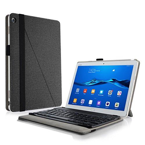 Infiland Huawei MediaPad M3 Lite 10 Tastatur Hülle, Ultradünn leicht Ständer Schutzhülle mit magnetisch abnehmbar Tastatur für Huawei MediaPad M3 Lite 10(QWERTZ Tastatur,Schwarz)