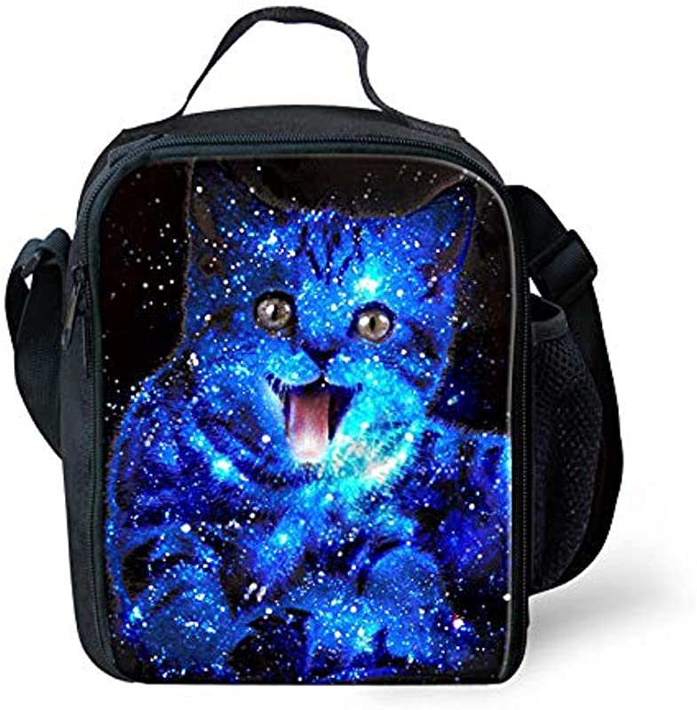 Cute Galaxy Cats Print Pattern Kids Back To School Lunch Bag Polyester Durable Insulated Reusable Lunch Box Bag