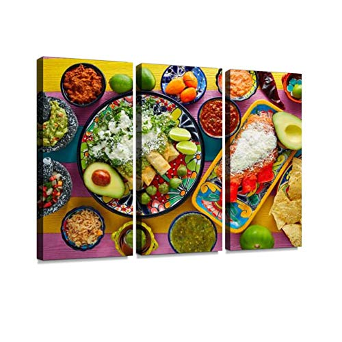 YKing1 Green and red Enchiladas with Mexican sauces Mexican Food Mix Stock Wall Art Painting Pictures Print On Canvas Stretched & Framed Artworks Modern Hanging Posters Home Decor 3PANEL