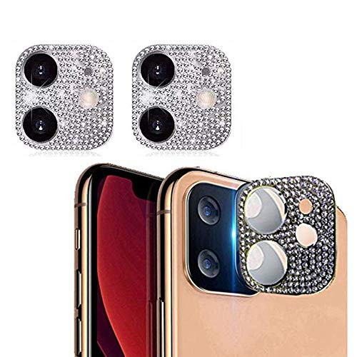 GSY Bling Crystal Camera Lens Protector for iPhone 11, 2 Pack Rear Camera Cover 3D Bling Diamond Lens Cover Protective Ring Decoration Sticker Protector(Silver)