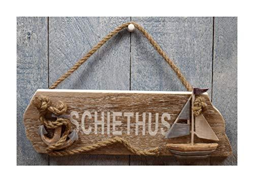 Maritimes Holz Türschild Schiethus mit Anker & Segelboot ca. 25x8cm Bad Deko CG