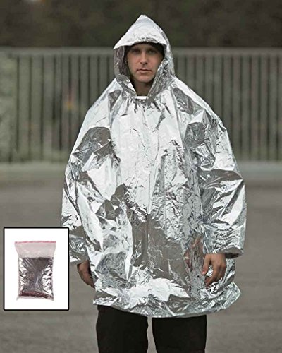 Survival poncho zilver