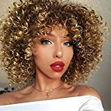 N&T Short Ombre Blonde Afro Kinky Curly Wig With Bangs Synthetic Heat Resistant Wigs For Black Women
