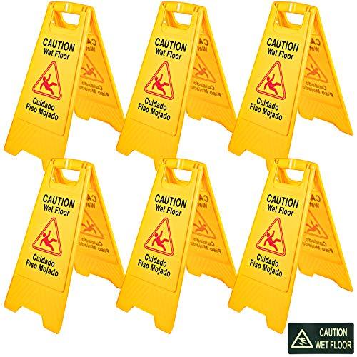 Mophorn Señal Seguridad Precaución Suelo Resbaladizo Cuando Está Mojado de Doble Cara Amarillo 6 PCS Adecuado para Restaurantes, Baños, Manteniendo a Peatones Al Tanto de Áreas Peligrosas