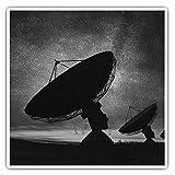 Impresionantes pegatinas cuadradas (juego de 2) 7,5 cm BW – antena parabólica cielo nocturno calcomanías divertidas para portátiles, tabletas, equipaje, reserva de chatarras, neveras, regalo fresco #39438