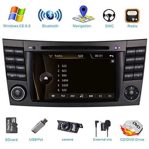 Autoradio-Radio für Mercedes-Benz W211 CLS W219 E200 E220 E240 E270 E280 Navi mit DVD-Player-Unterstützung GPS-Navigation Lenkradsteuerung Bluetooth-Touchscreen