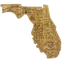 Celebrate life in The Sunshine State with this beautiful bamboo cutting board in the shape of Florida with permanent, laser-engraved artwork Fun, whimsical laser-engraved artwork calls out all the wonderful sights and places in the state from Miami t...