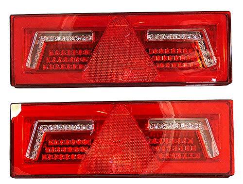 2x LED 12/24V Rückleuchte Blinker Lauflicht mit 5 Funktionen 375x135mm E-Prüfezeichen Anhänger LKW Hochwertig 96 LEDs
