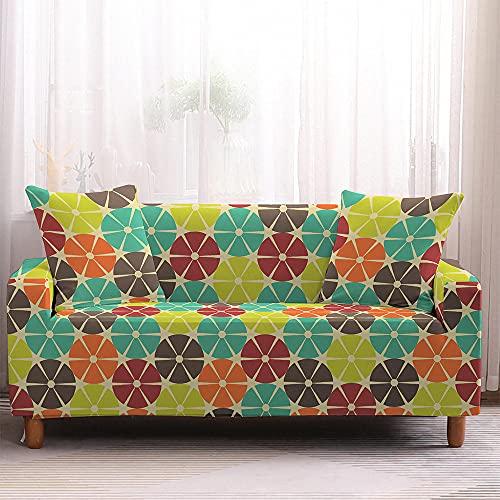 QYQMYK Sofabezug Für Sofa,Rutschfester Farbgeometrischer Kreisschutz,Staubdichte Stretch-Möbel-Couch-Abdeckungen Für Wohnzimmer Für Haustiere Und Kindermöbelschutz,1,Sitzer(90,140Cm)