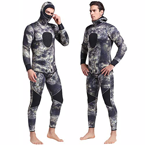 Nataly Osmann Men 5mm Spearfishing Premium Camouflage Neoprene Wetsuit Scuba Diving Suit Hoodie Snorkeling Suits (Green camo, XXL)