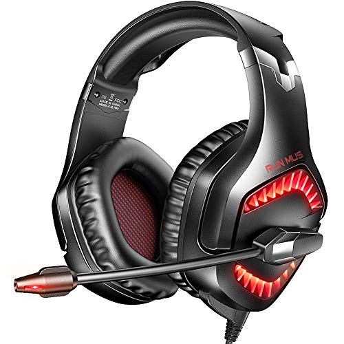 RUNMUS Gaming Headset PC Headset with 7.1 Surround Sound, Noise Canceling PS4 Headset with Mic & LED Light, Compatible with PS5, PS4, Wired Over Ear Headphones for New Xbox One, Mac, Switch, Laptop