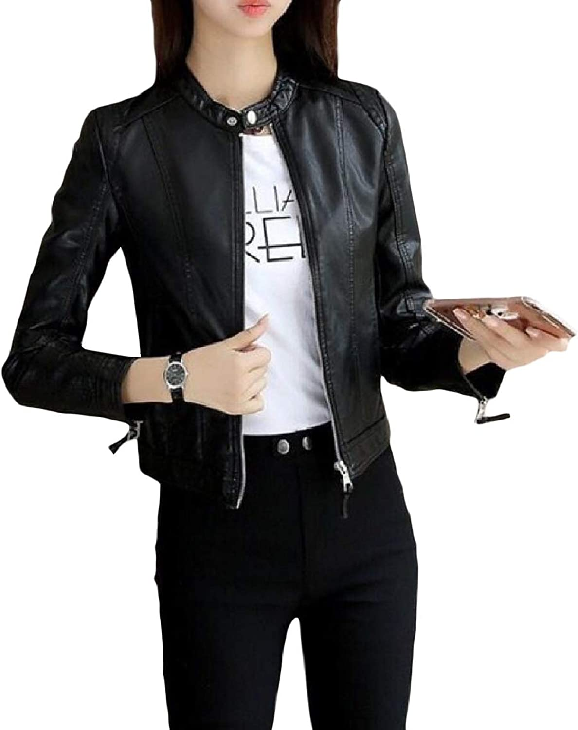 EGod Women's Fit Zip Over Sized Pu Leather Stand Collar Jacket Overcoat